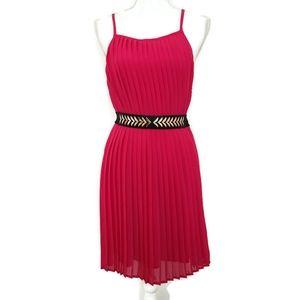 Vanilla Bay Hot Pink Pleated Swing Dress